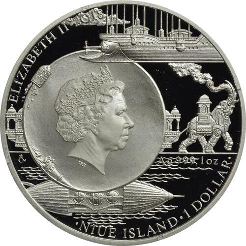 Rückseite:Niue : 1 Dollar Nautilus - 20000 Meilen unter dem Meer  2018 PP
