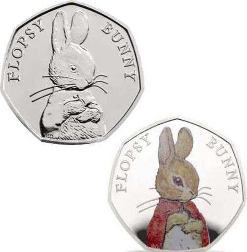 Lieferumfang:Großbritannien : 50 Pence Beatrix Potter - Flopsy Bunny  2018 PP