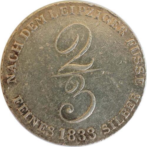 Vorderseite:Deutschland : 2/3 Taler Wilhem IV 1830 - 1837 winz. Kratzer 1833 ss/vz.