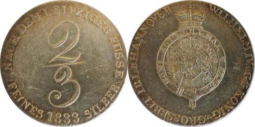 Lieferumfang:Deutschland : 2/3 Taler Wilhelm IV 1830 - 1837 SELTENE VARIANTE winz. Kratzer, patina 1833 vz.