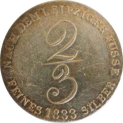 Vorderseite:Deutschland : 2/3 Taler Wilhelm IV 1830 - 1837 SELTENE VARIANTE winz. Kratzer, patina 1833 vz.
