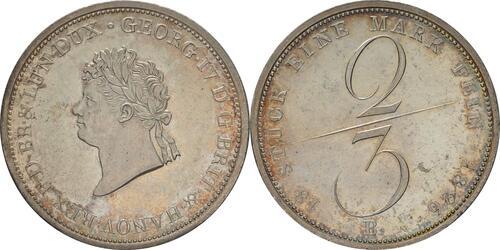 Lieferumfang :Deutschland : 2/3 Taler Georg IV 1820 - 1830 patina, winz. Kratzer, winz. Schrötlf. 1826 f.Stgl.