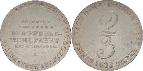 Lieferumfang:Deutschland : 2/3 Ausbeutetaler Wilhelm IV Kratzer, -selten- 1833 ss/vz.