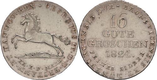 Lieferumfang :Deutschland : 16 Gute Groschen Georg IV 1820 - 1830  1824 ss/vz.