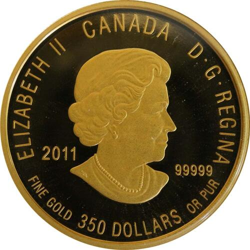 Rückseite :Kanada : 350 Dollar Silberwurz -selten- 2011 PP