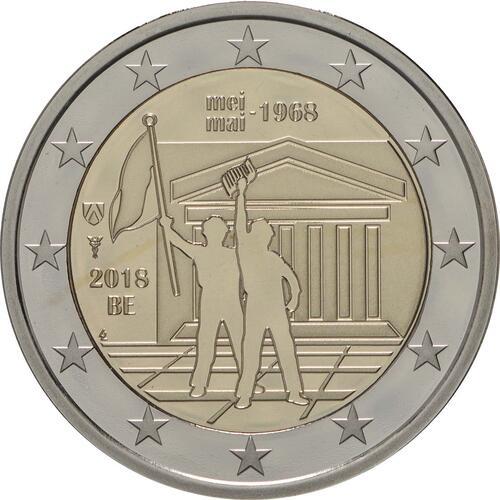 Rückseite:Belgien : 2 Euro Studentenaufstand 1968  2018 PP