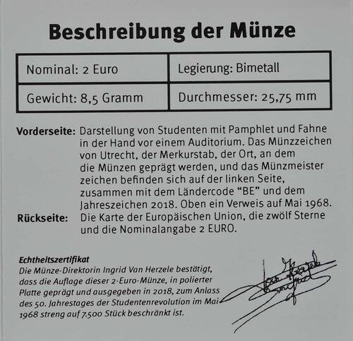 Zertifikat:Belgien : 2 Euro Studentenaufstand 1968  2018 PP