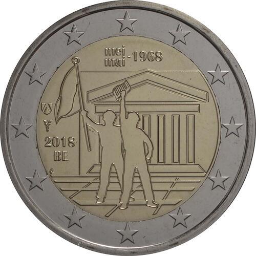 Rückseite:Belgien : 2 Euro Studentenaufstand 1968  2018 Stgl.