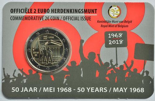 Lieferumfang:Belgien : 2 Euro Studentenaufstand 1968  2018 Stgl.