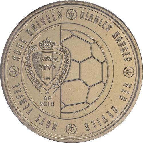 Vorderseite:Belgien : 2,5 Euro Die belgische Fußballnationalmannschaft Red Devils  2018 bfr
