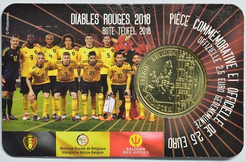 Zertifikat:Belgien : 2,5 Euro Die belgische Fußballnationalmannschaft Red Devils  2018 bfr
