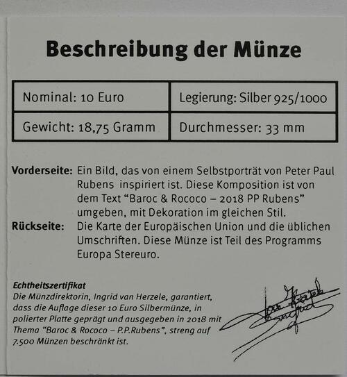 Zertifikat:Belgien : 10 Euro Rubens  2018 PP