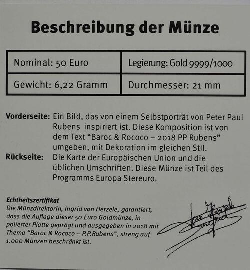 Zertifikat:Belgien : 50 Euro Rubens  2018 PP