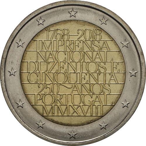 Rückseite:Portugal : 2 Euro 250 Jahre staatliche Prägestätte INCM  2018 bfr