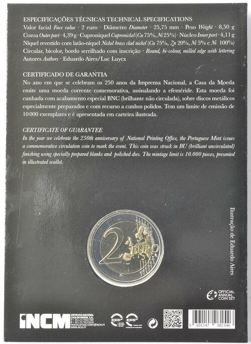 Zertifikat:Portugal : 2 Euro 250 Jahre staatliche Prägestätte INCM  2018 Stgl.