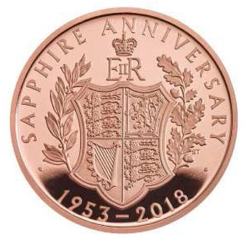 Lieferumfang:Großbritannien : 5 Pfund Krönungsjubiläum Elizabeth II  2018 PP