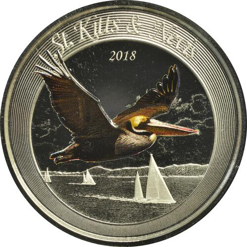 Vorderseite:Saint Kitts : 2 Dollar Brown Pelican  2018 PP