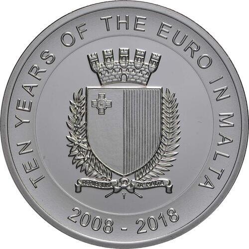 Rückseite:Malta : 5 Euro 10 Jahre Euro in Malta  2018 bfr