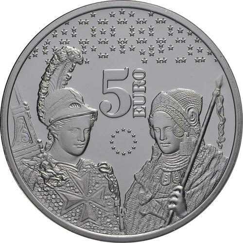 Vorderseite:Malta : 5 Euro 10 Jahre Euro in Malta  2018 bfr