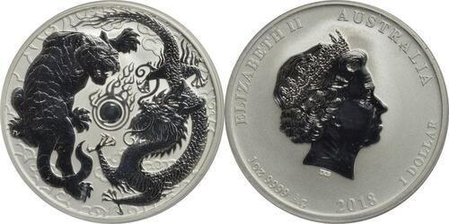 Lieferumfang:Australien : 1 Dollar Drache & Tiger  2018 Stgl.