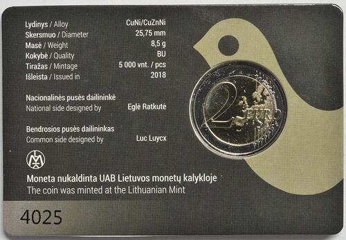 Zertifikat:Litauen : 2 Euro Gesang- und Tanzfestival  2018 Stgl.
