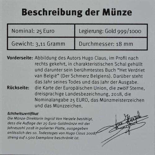 Zertifikat:Belgien : 25 Euro Hugo Claus  2018 PP