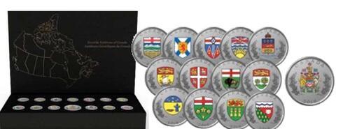 Lieferumfang:Kanada : 8,25 Dollar Die Wappen Canadas - Set (13x 25 Ct, 1x 5 $)  2018 PP