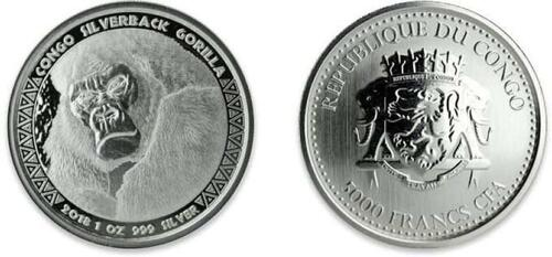 Lieferumfang:Kongo : 5000 Franc Gorilla  2018 Stgl.