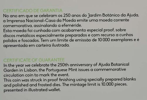 Zertifikat:Portugal : 2 Euro 250 Jahre Botanischer Garten von Ajuda  2018 PP