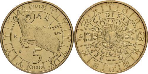 Lieferumfang:San Marino : 5 Euro Widder  2018 bfr