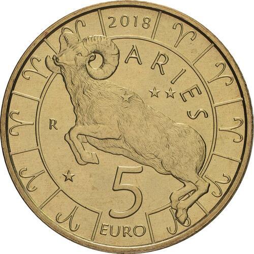 Vorderseite:San Marino : 5 Euro Widder  2018 bfr