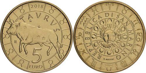 Lieferumfang:San Marino : 5 Euro Stier  2018 bfr