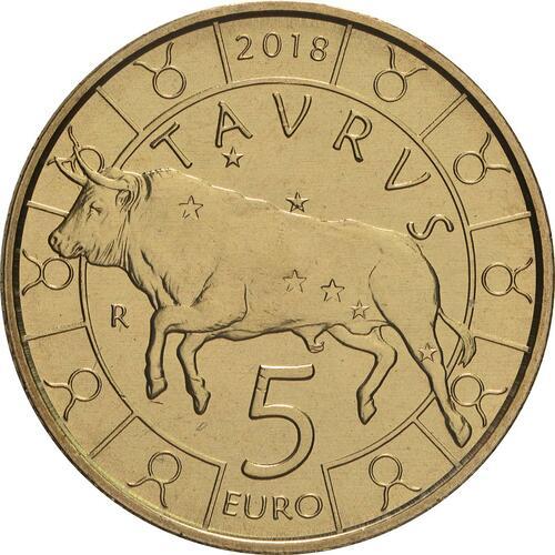Vorderseite:San Marino : 5 Euro Stier  2018 bfr