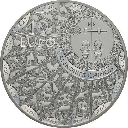Rückseite:Frankreich : 10 Euro Jahr des Schweines  2019 PP