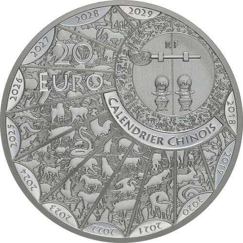 Rückseite:Frankreich : 20 Euro Jahr des Schweins  2019 PP