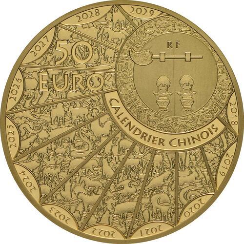 Rückseite:Frankreich : 50 Euro Jahr des Schweines  2019 PP