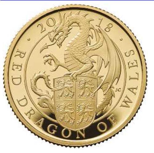 Lieferumfang:Großbritannien : 25 Pfund The Queen's Beasts Der rote Drache von Wales  2018 PP