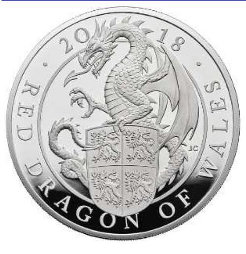 Lieferumfang:Großbritannien : 2 Pfund The Queen's Beasts Der rote Drache von Wales  2018 PP