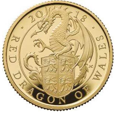 Lieferumfang:Großbritannien : 100 Pfund The Queen's Beasts Der rote Drache von Wales  2018 PP