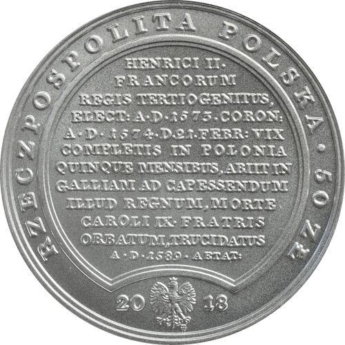 Rückseite:Polen : 50 Zloty Schätze von Stanislaw August - Henri de Valois  2018 Stgl.
