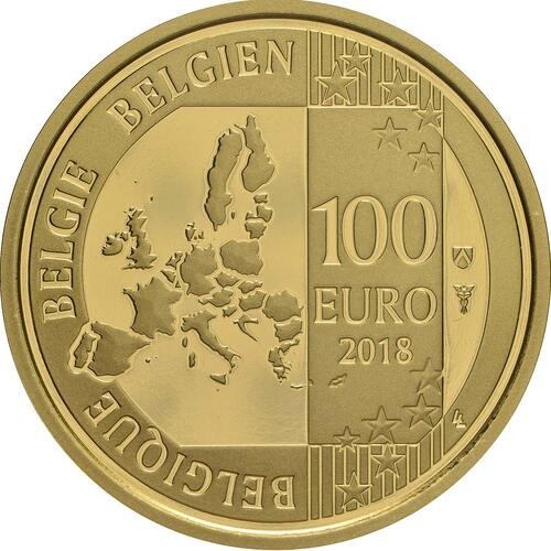 Rückseite:Belgien : 100 Euro 25. Todestag König Baudouin  2018 PP