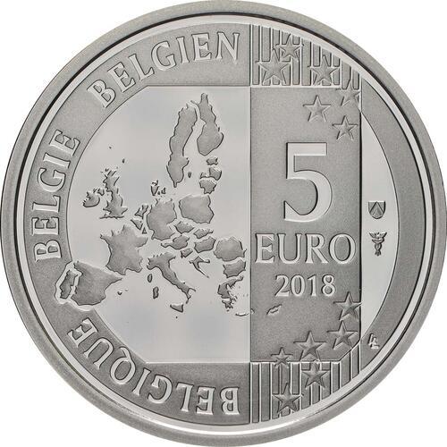 Rückseite:Belgien : 5 Euro 60 Jahre Schlümpfe  2018 PP