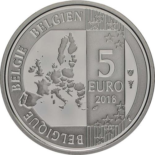 Rückseite:Belgien : 5 Euro 60 Jahre Schlümpfe coloriert  2018 PP