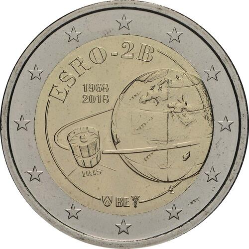 Rückseite:Belgien : 2 Euro ESRO-2B Satellit  2018 bfr