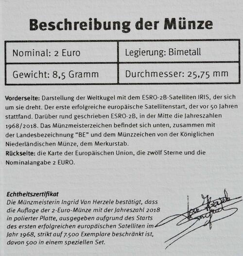 Zertifikat:Belgien : 2 Euro ESRO-2B Satellit  2018 PP