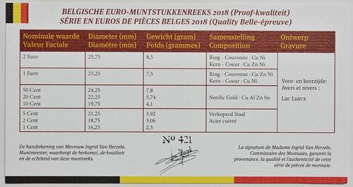 Zertifikat:Belgien : 3,88 Euro KMS Belgien  2018 PP