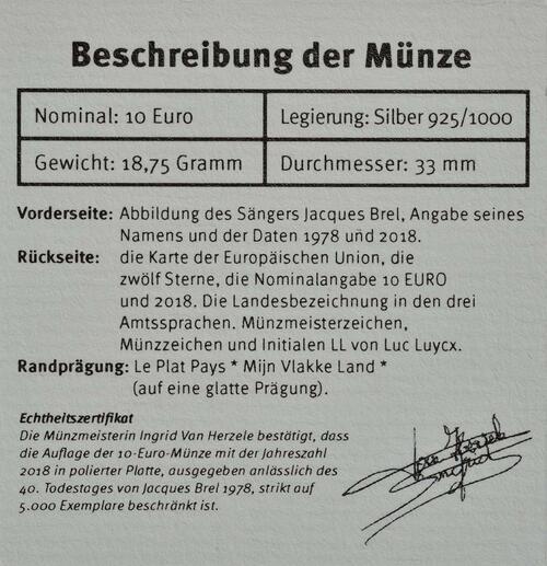 Zertifikat:Belgien : 10 Euro Jacques Brel  2018 PP