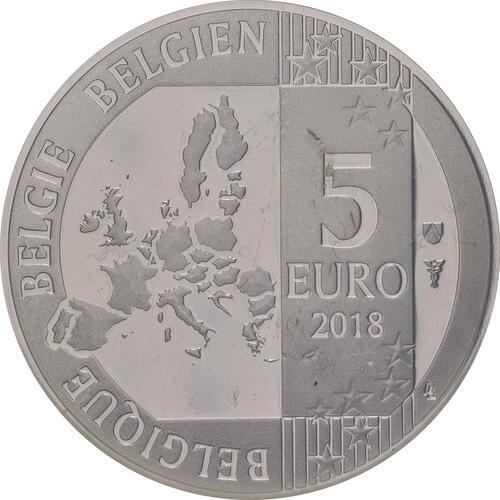 Rückseite:Belgien : 5 Euro 100 Jahre Waffenstillstand  2018 bfr