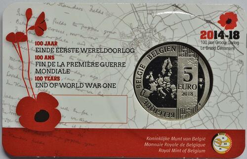 Zertifikat:Belgien : 5 Euro 100 Jahre Waffenstillstand  2018 bfr