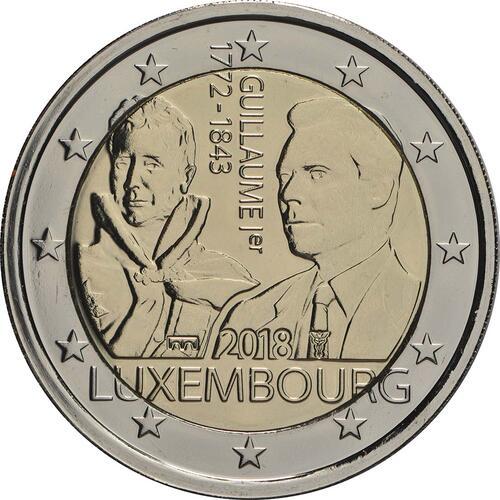 Rückseite:Luxemburg : 2 Euro 175. Todestag von Großherzog Guillaume I. - Münzzeichen Brücke  2018 Stgl.